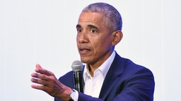Former President Barack Obama speaks on stage during the MBK Rising! My Brother's Keeper Alliance Summit in Oakland, California on February 19, 2019.