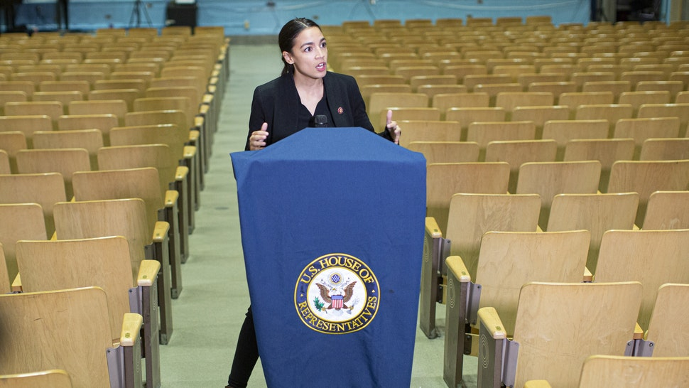 NEW YORK, NY - NOVEMBER 06: U.S. Rep. Alexandria Ocasio-Cortez (D-NY) holds a news conference before a Town Hall November 6, 2019 in the Bronx borough of New York City.