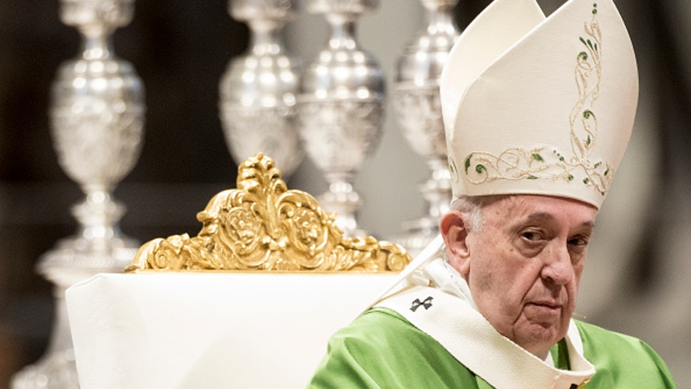 VATICAN CITY, VATICAN - NOVEMBER 17: Pope Francis leads a special Mass on the occasion of the World Day of Poor in St. Peter's Basilica, on November 17, 2019 in Vatican City, Vatican. Following the celebration the Pontiff attended lunch with 1500 poor people and families in difficulties.