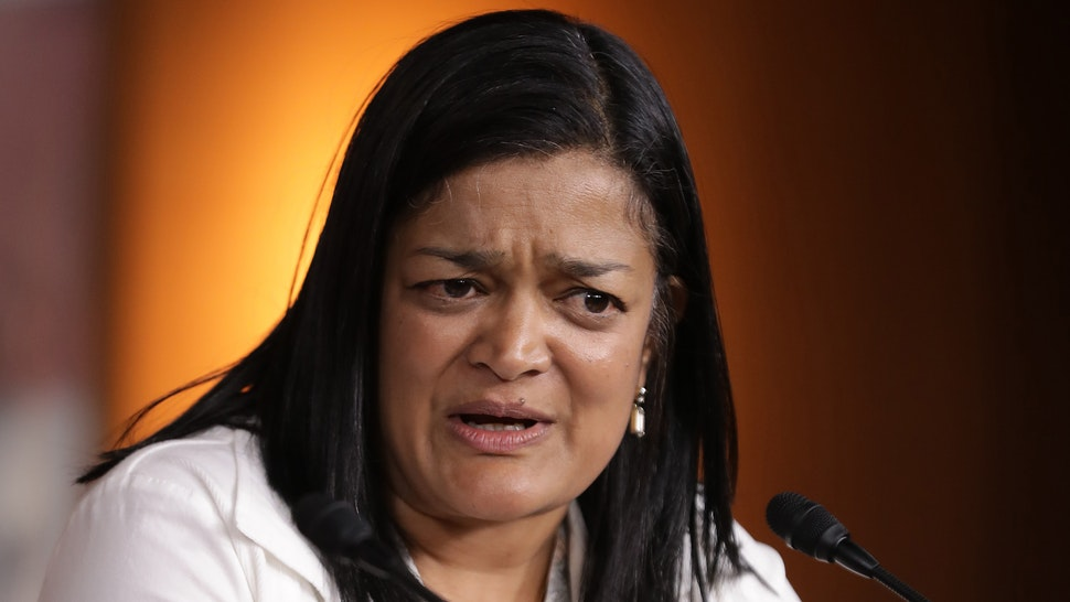 WASHINGTON, DC - MAY 17: Congressional Progressive Caucus co-chair Rep. Pramila Jayapal (D-WA) holds a news conference in the U.S. Capitol Visitors Center May 17, 2019 in Washington, DC. Jayapal and co-chair Rep. Mark Pocan (D-WI) talked about prescription drug prices, the Equality Act and other topics.