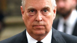 LONDON, UNITED KINGDOM - JUNE 27: Prince Andrew, Duke of York leaves the funeral service of Patricia Knatchbull, Countess Mountbatten of Burma at St Paul's Church in Knightsbridge on June 27, 2017 in London, England.