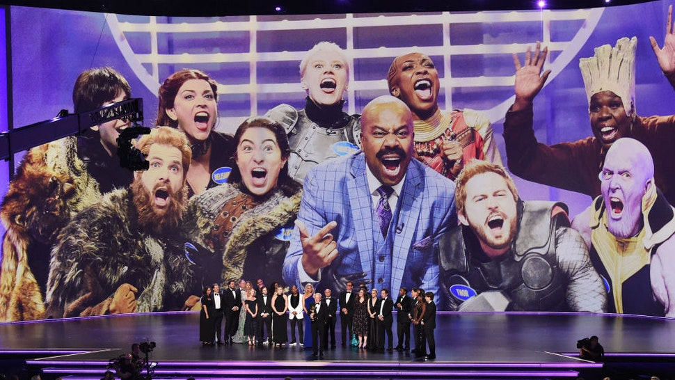 Lorne Michaels and cast and crew of 'Saturday Night Live' accept the Outstanding Variety Sketch Series award for 'Saturday Night Live' onstage during the 71st Emmy Awards at Microsoft Theater on September 22, 2019 in Los Angeles, California. (Photo by Kevin Winter/Getty Images)