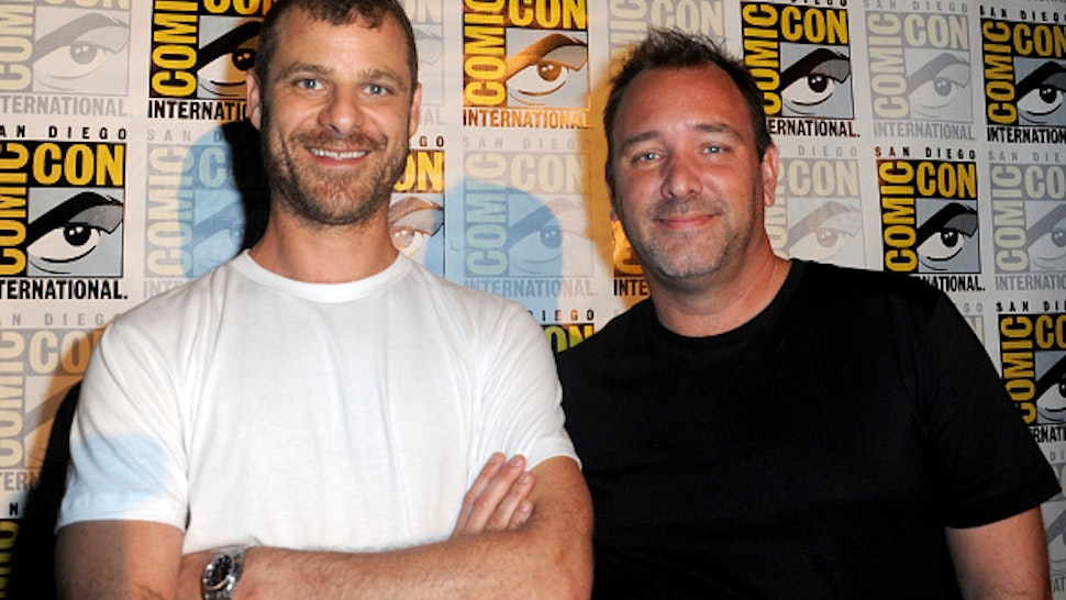 """SAN DIEGO, CA - JULY 22: Writers/producers Trey Parker (L) and Matt Stone attend Comedy Central """"South Park 20"""" during Comic-Con International 2016 at San Diego Convention Center on July 22, 2016 in San Diego, California."""