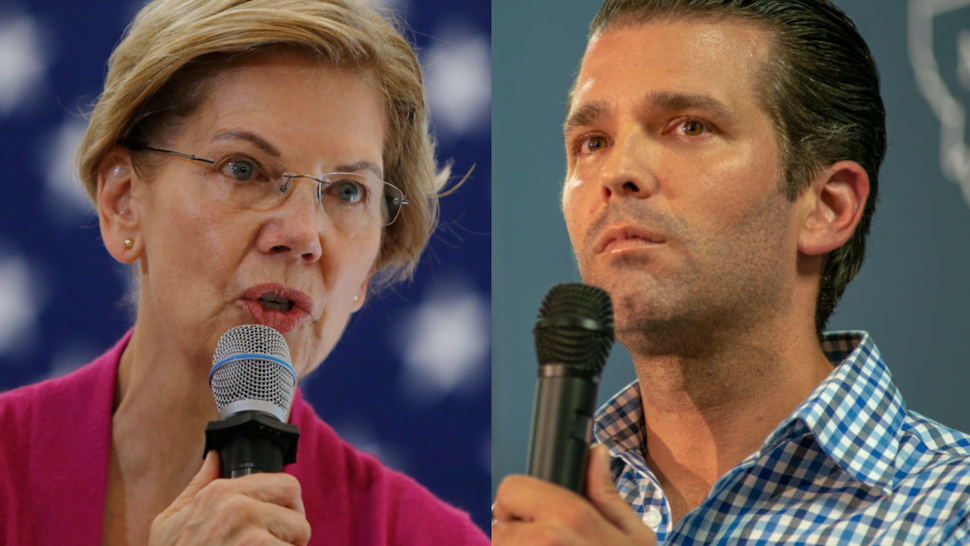 U.S. Senator and presidential candidate Elizabeth Warren speaks during a town hall at the University of New Hampshire in Durham, NH on Oct. 30, 2019.//Donald Trump Jr. speaks at a campaign rally in support Montana Senate candidate Matt Rosendale in Bozeman, MT on September 25,2018.