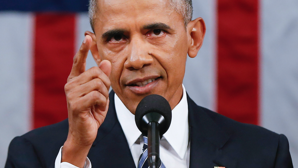President Barack Obama delivers his State of the Union address before a joint session of Congress on Capitol Hill January 12, 2016 in Washington, D.C. In his final State of the Union, President Obama reflected on the past seven years in office and spoke on topics including climate change, gun control, immigration and income inequality.