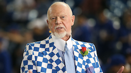 Hockey commentator Don Cherry does a television interview before the Tampa Bay Rays MLB game against the Toronto Blue Jays on April 13, 2015 at Rogers Centre in Toronto, Ontario, Canada.