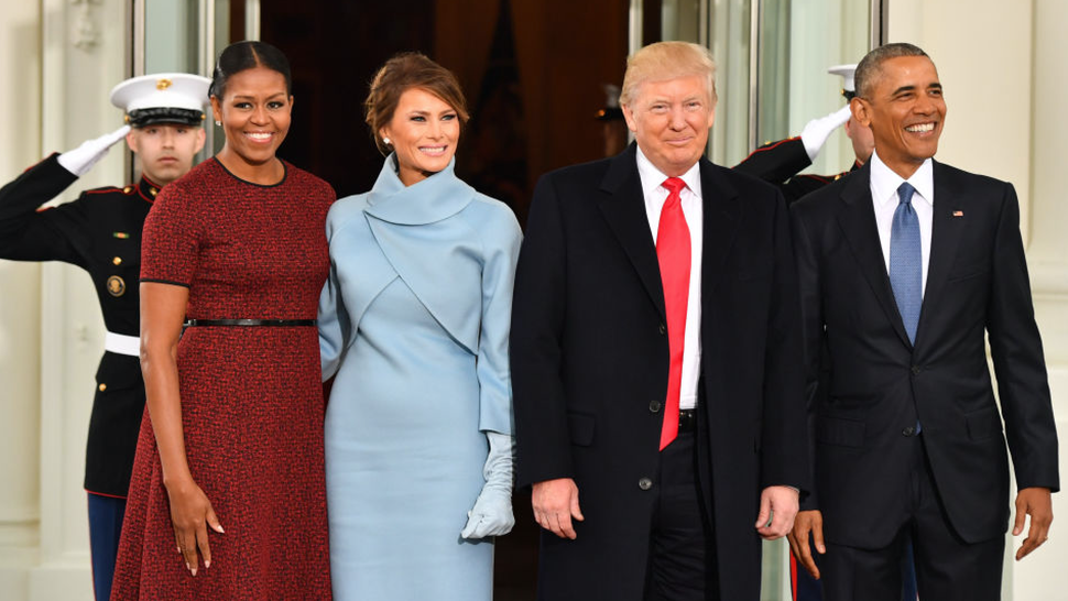 U.S. President Barack Obama, from right, U.S. President-elect Donald Trump, U.S. First Lady-elect Melania Trump, and U.S. First Lady Michelle Obama stand for a photograph outside of the White House ahead of the 58th presidential inauguration in Washington, D.C., U.S., on Friday, Jan. 20, 2017.