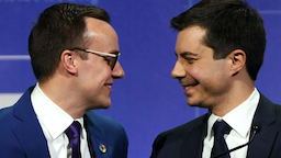 Chasten Glezman Buttigieg (L) greets his husband, South Bend, Indiana Mayor Pete Buttigieg, after he delivered a keynote address at the Human Rights Campaign's (HRC) 14th annual Las Vegas Gala at Caesars Palace on May 11, 2019 in Las Vegas, Nevada.