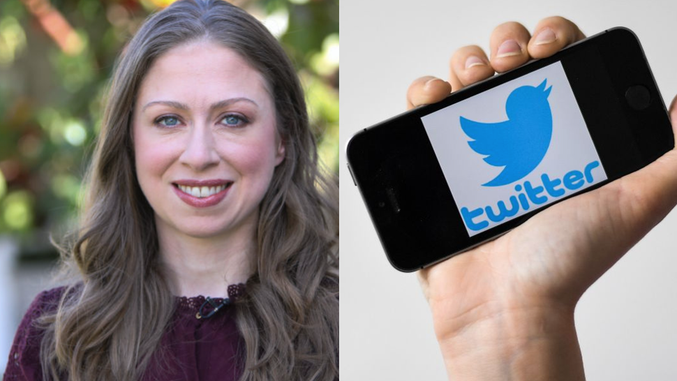 """Chelsea Clinton visits Hallmark's """"Home & Family"""" at Universal Studios Hollywood on October 9, 2018 in Universal City, California.//A woman shows a smartphone with the logo of US social network Twitter, on May 2, 2019 in Nantes, western France."""