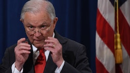 Jeff Sessions speaks during a press conference at the Department of Justice