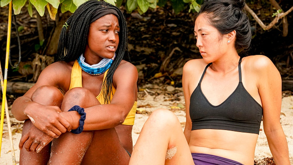 "MANA ISLAND - APRIL 9: ""We Made It to the Merge!"" - Missy Byrd and Kellee Kim on the Eighth and Ninth episodes of SURVIVOR: Island of Idols airing Wednesday, Nov. 13 (8:00-10:00 PM, ET/PT) on the CBS Television Network."