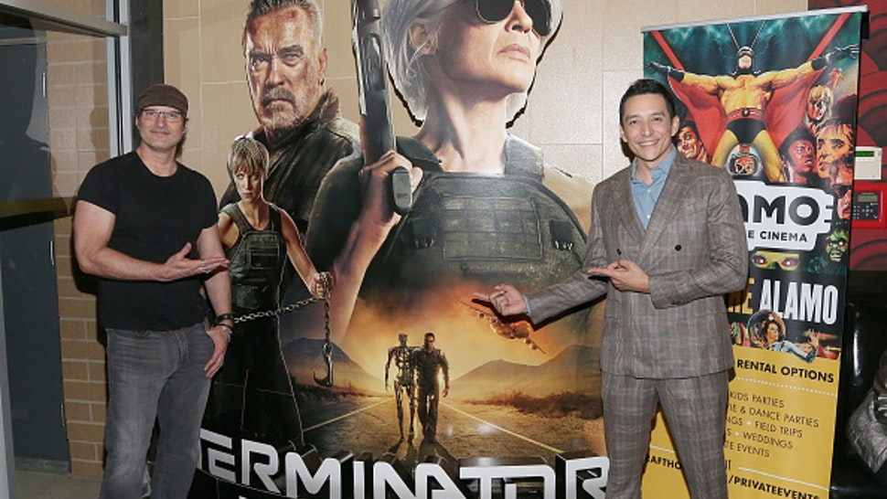 "AUSTIN, TEXAS - OCTOBER 29: Gabriel Luna (R) and Robert Rodriguez attend the ""Terminator: Dark Fate"" Screening at the Alamo Drafthouse Cinema Slaughter Lane on October 29, 2019 in Austin, Texas."