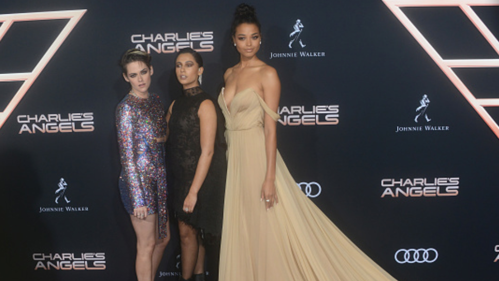 "LOS ANGELES, CA - NOVEMBER 11: Kristen Stewart, Naomi Scott and Ella Balinska arrive for the Premiere Of Columbia Pictures' ""Charlie's Angels"" held at Westwood Regency Theater on November 11, 2019 in Los Angeles, California."