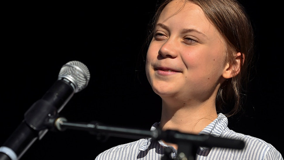 MONTREAL, QC - SEPTEMBER 27: Swedish climate activist Greta Thunberg takes to the podium to address young activists and their supporters during the rally for action on climate change on September 27, 2019 in Montreal, Canada. Hundreds of thousands of people are expected to take part in what could be the city's largest climate march.