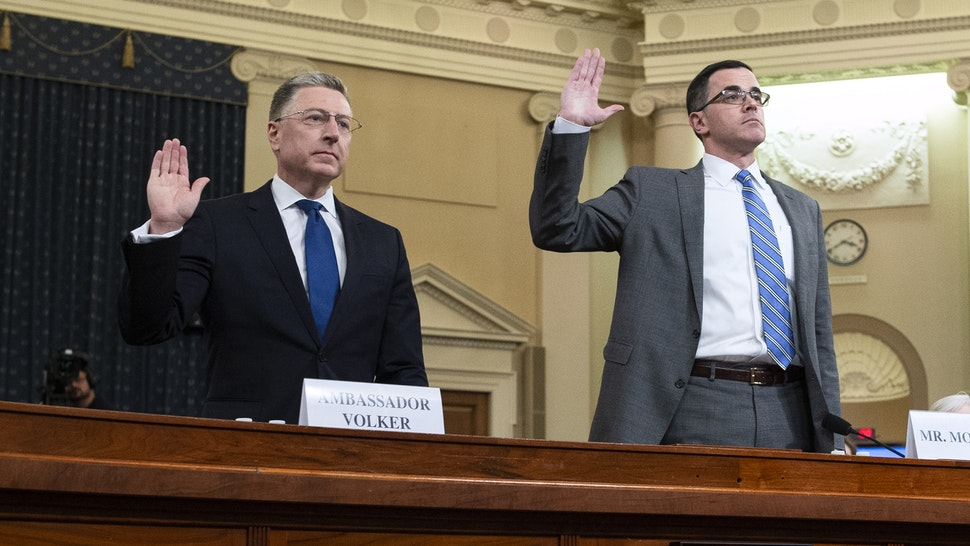 UNITED STATES - NOVEMBER 19: Kurt Volker, former U.S. special envoy to Ukraine, left, and Timothy Morrison, the former senior director for Russian affairs at the National Security Council, are sworn in to the House Intelligence Committee hearing on the impeachment inquiry of President Trump in Longworth Building on Tuesday, November 19, 2019.
