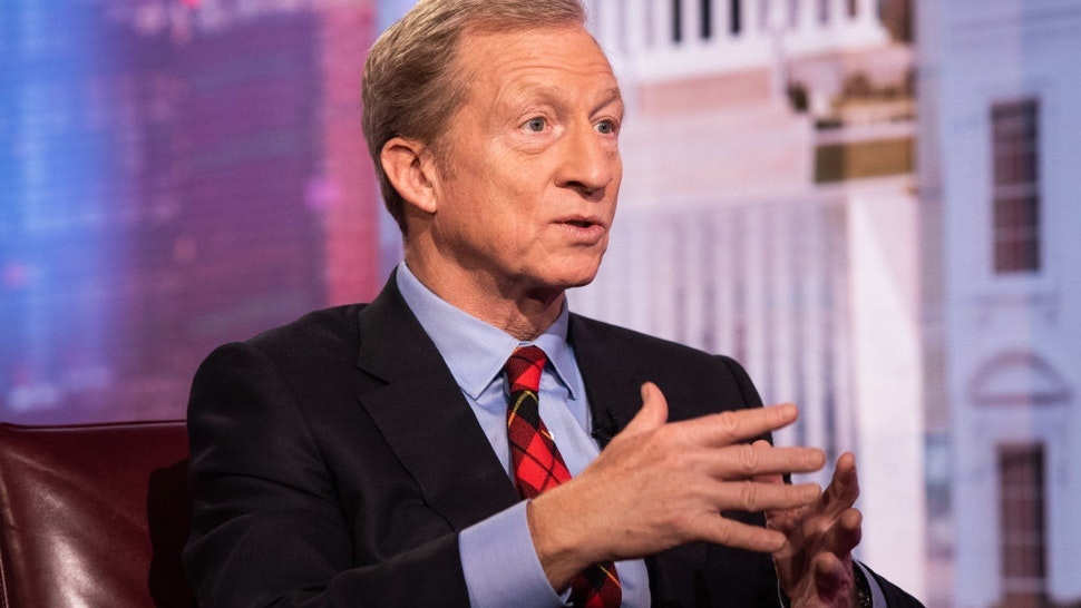 Tom Steyer speaks during a Bloomberg Television interview