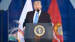 NEW YORK, NEW YORK - NOVEMBER 11: President Donald Trump speaks during the Veterans Day Parade opening ceremony on November 11, 2019 in New York City.