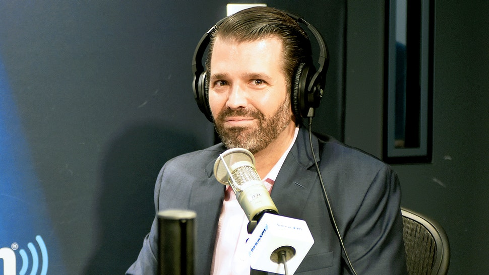 OCTOBER 31: (EXCLUSIVE COVERAGE) Donald Trump Jr. visits SiriusXM Studios on October 31, 2019 in New York City. (