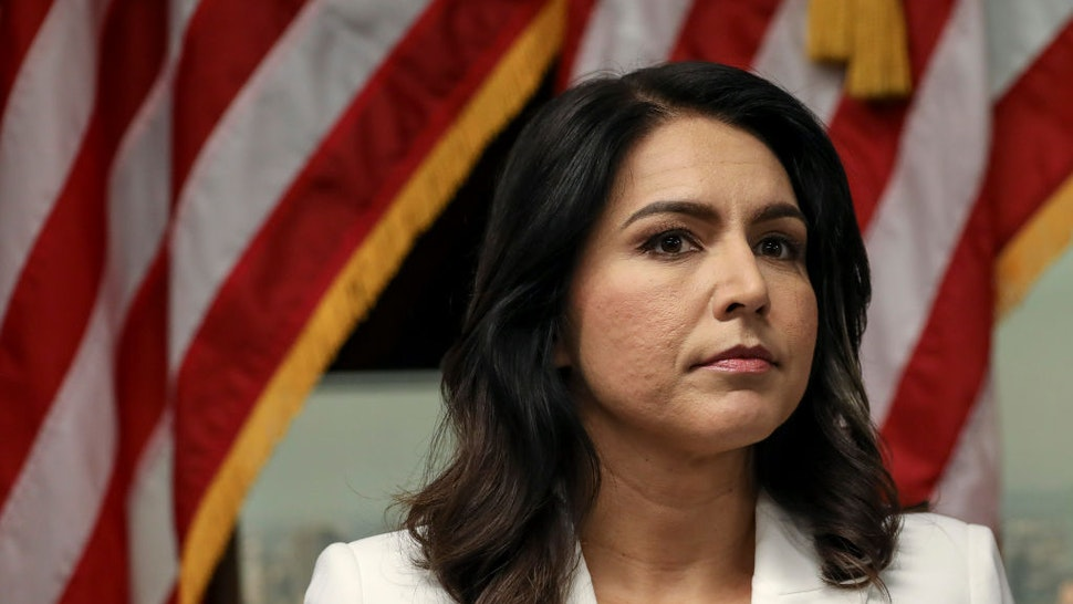Tulsi Gabbard speaks during a press conference at the 9/11 Tribute Museum