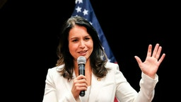 Tulsi Gabbard seen speaking during her political campaign at in Nashua, New Hampshire