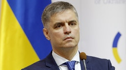 KIEV, UKRAINE - 2019/10/10: Foreign Minister of Ukraine Vadym Prystaiko speaks during a press conference with Foreign Minister of Netherlands Stef Blok (not pictured) after their meeting in Kiev. Dutch Foreign Minister Stef Blok visits Ukraine to meet with Ukrainian officials. Ministers answered to journalists questions in particular about Malaysia Airlines MH17 plane accident's investigation.