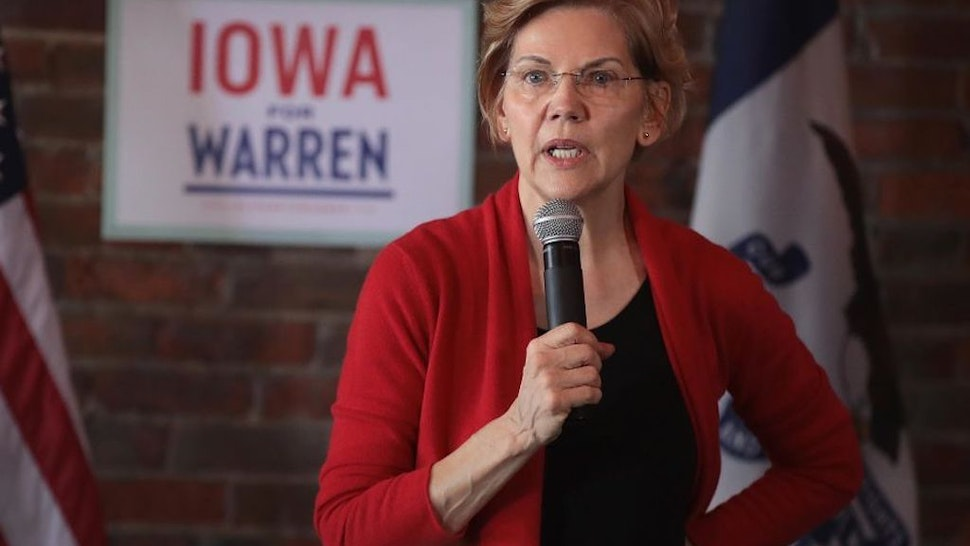 DUBUQUE, IOWA - MARCH 01: Sen. Elizabeth Warren (D-MA) speaks at a campaign rally at the Stone Cliff Winery on March 1, 2019 in Dubuque, Iowa. Warren is campaigning in the state with the hopes of securing the 2020 Democratic presidential nomination.