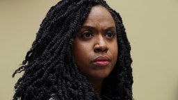 Ayanna Pressley attends a hearing on drug pricing in the Rayburn House Office building