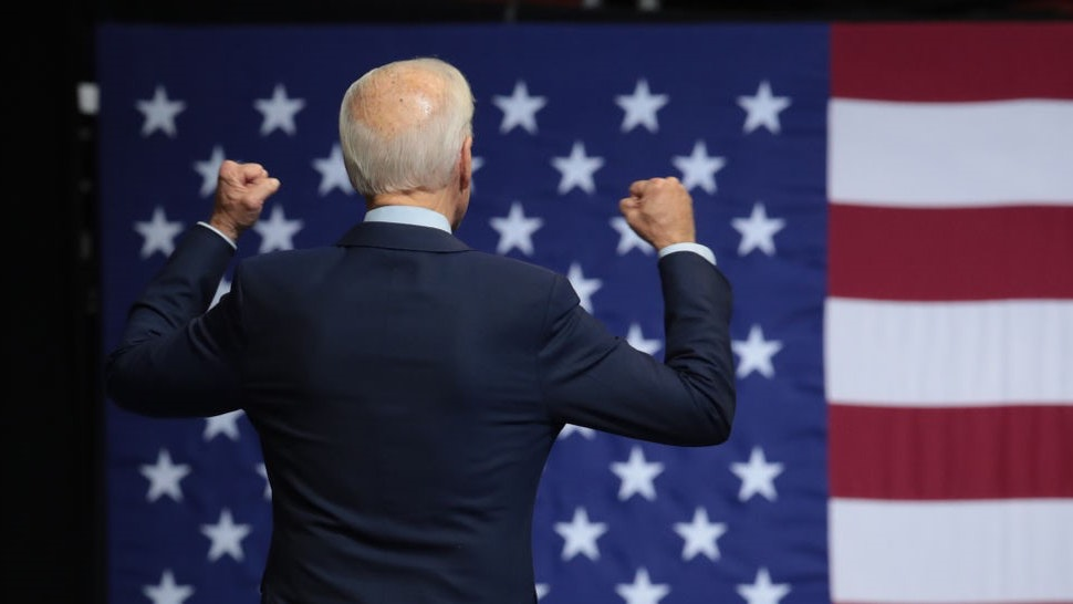 Democratic presidential candidate, former Vice President Joe Biden leaves the stage after speaking at the Liberty and Justice Celebration at the Wells Fargo Arena on November 01, 2019 in Des Moines, Iowa.