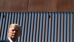 US President Donald Trump visits the US-Mexico border fence in Otay Mesa, California on September 18, 2019.
