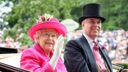 ASCOT, ENGLAND - JUNE 22: Queen Elizabeth II and Prince Andrew, Duke of York attend Royal Ascot 2017 at Ascot Racecourse on June 22, 2017 in Ascot, England.
