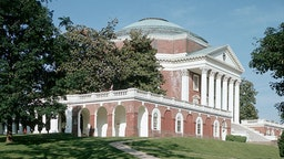 The entrance portico and rotunda of the University of Virginia, designed by Thomas Jefferson, ca. 1800, at Charlottesville.