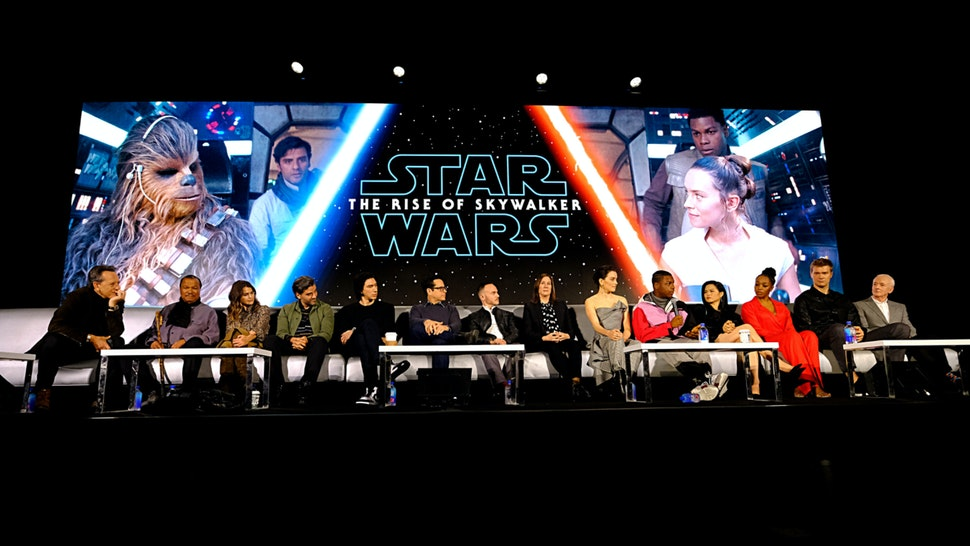 """Actors participate in the global press conference for """"Star Wars: The Rise of Skywalker"""" at the Pasadena Convention Center on December 04, 2019 in Pasadena, California."""