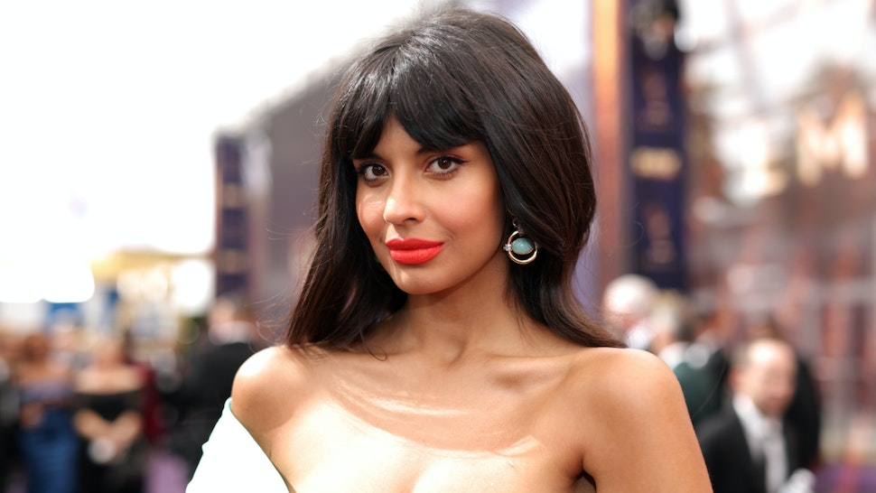 Jameela Jamil walks the red carpet during the 71st Annual Primetime Emmy Awards on September 22, 2019 in Los Angeles, California.