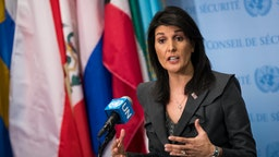 U.S. ambassador to the United Nations Nikki Haley speaks during a brief press availability at United Nations headquarters, January 2, 2018 in New York City.