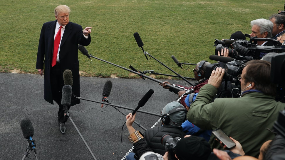U.S. President Donald Trump talks to reporters before departing the White House March 22, 2019 in Washington, DC.