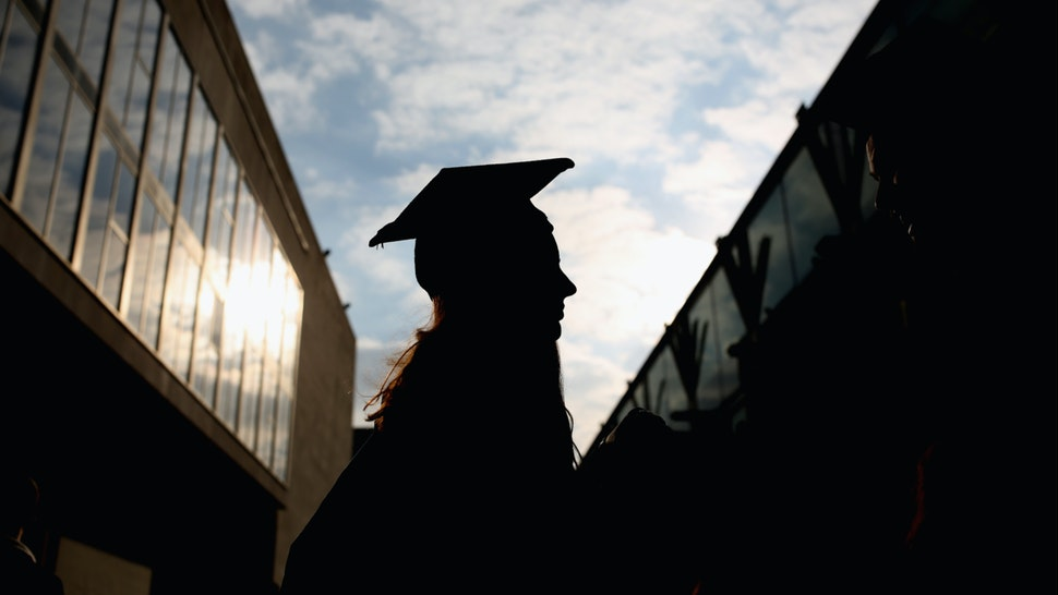 Students arrive for their graduation ceremony at the Royal Festival Hall on October 13, 2015 in London, England.
