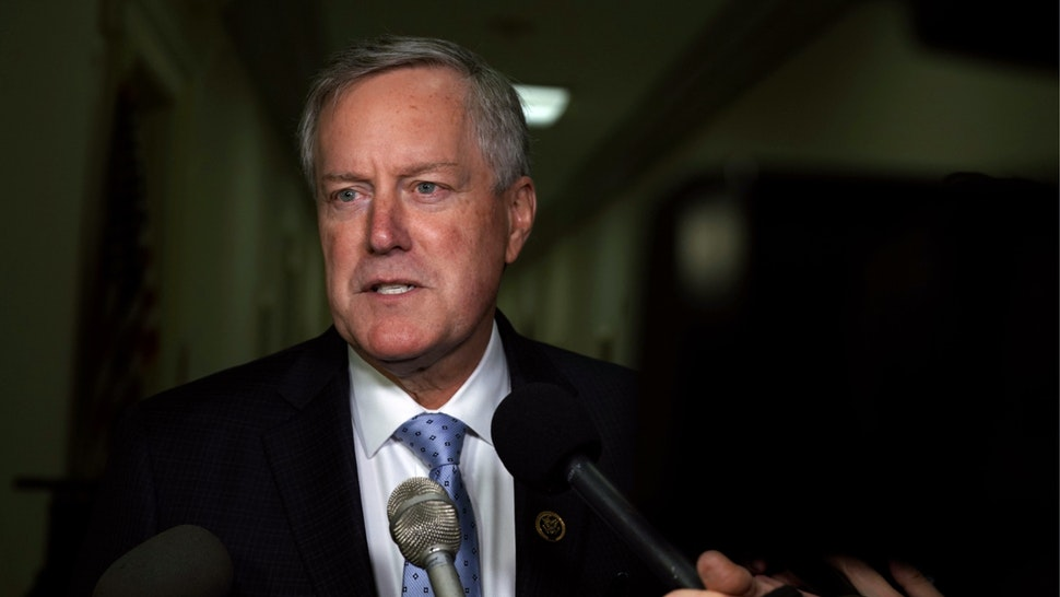 U.S. Rep. Mark Meadows (R-NC) speaks to members of the media as he arrives at the Rayburn House Office Building where former Federal Bureau of Investigation Director James Comey testifies to the House Judiciary and Oversight and Government Reform committees on Capitol Hill December 07, 2018 in Washington, DC.