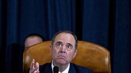 Representative Adam Schiff, a Democrat from California and chairman of the House Intelligence Committee, makes a closing statement during an impeachment inquiry hearing in Washington, D.C., U.S., on Thursday, Nov. 21, 2019. The committee hears from nine witnesses in open hearings this week in the impeachment inquiry into President Donald Trump.