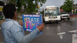 Ceasefire Baltimore, an anti-violence group, holds a kickoff rally to call for a Mother's Day weekend without any violence on May 10, 2019 in Baltimore, Maryland.(Photo by Andrew Lichtenstein/Corbis via Getty Images)