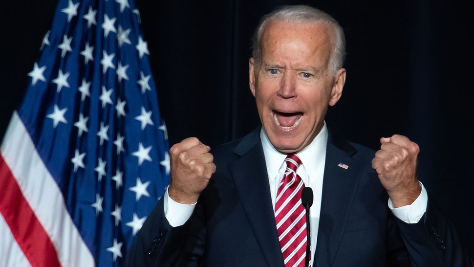 TOPSHOT - Former US Vice President Joe Biden speaks during the First State Democratic Dinner in Dover, Delaware, on March 16, 2019.