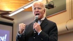 "ALGONA, IOWA - DECEMBER 02: Democratic presidential candidate, former Vice President Joe Biden speaks during a campaign stop at the Water's Edge Nature Center on December 2, 2019 in Algona, Iowa. The stop was part of Biden's 650-mile ""No Malarkey"" campaign bus trip through rural Iowa. The 2020 Iowa Democratic caucuses will take place on February 3, 2020, making it the first nominating contest for the Democratic Party in choosing their presidential candidate to face Donald Trump in the 2020 election."