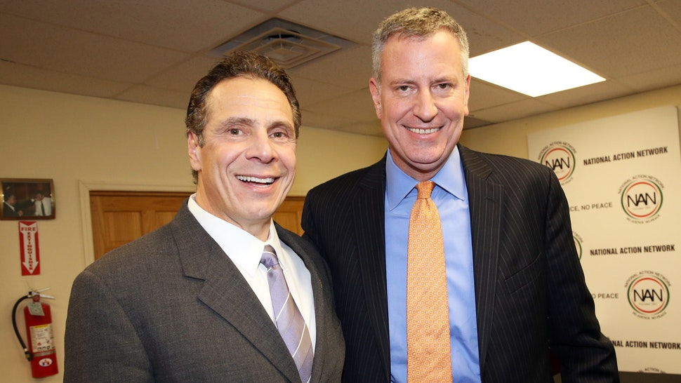 JANUARY 18: (L-R) New York Governor Andrew Cuomo and New York city Mayor Bill de Blasio attend the National Action Network Martin Luther King Day Public Policy Forum on January 18, 2016, in New York City.