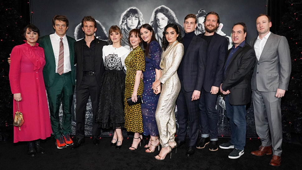 "LOS ANGELES, CALIFORNIA - DECEMBER 05: (L-R) April Wolfe, Jason Blum, Ben Black, Imogen Poots, Sophia Takal, Lilly Donoghue, Brittany O'Grady, Simon Mead, Adam Hendricks, Ben Cosgrove and Zac Locke attend a special screening of ""Black Christmas"" at Regal LA Live on December 05, 2019 in Los Angeles, California."