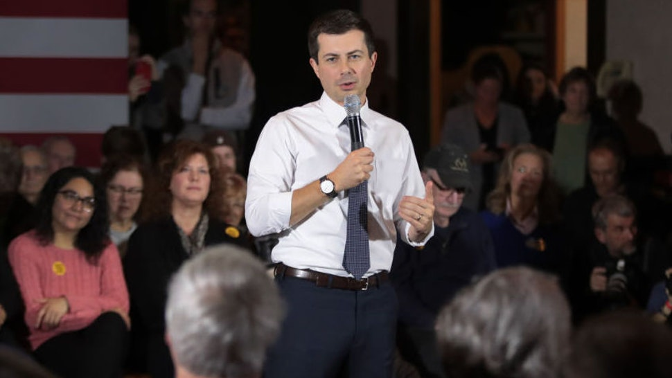 DENISON, IOWA - NOVEMBER 26: Democratic presidential candidate South Bend, Indiana Mayor Pete Buttigieg speaks to guests during a campaign stop at Cronk's restaurant on November 26, 2019 in Denison, Iowa. The 2020 Iowa Democratic caucuses will take place on February 3, 2020, making it the first nominating contest for the Democratic Party in choosing their presidential candidate to face Donald Trump in the 2020 election