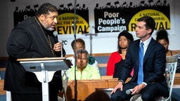 Reverend William Barber introduces South Bend, Indiana mayor and Democratic presidential candidate, Pete Buttigieg, during Sunday morning serviceat Greenleaf Christian Church in Goldsboro, North Carolina on December 1, 2019.