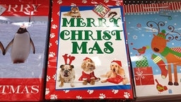 Clarkston. Washington state. USA _Christmas greetings cards and christmas gift bags at dollar sore 17 December 2014.
