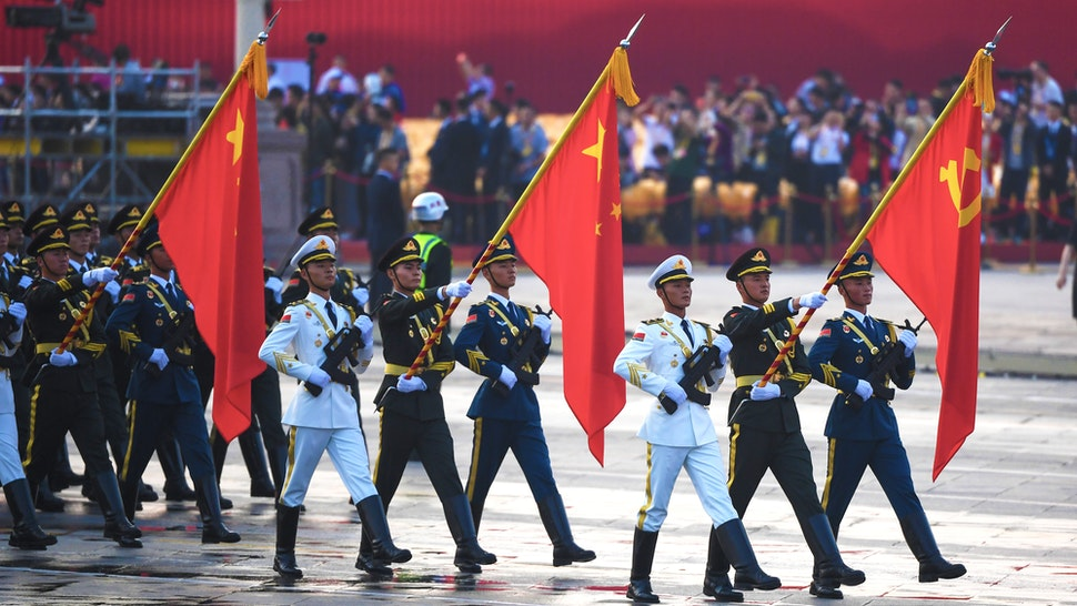 Chinese soldiers take part in a rehearsal ahead of a military parade in Tiananmen Square in Beijing on October 1, 2019, to mark the 70th anniversary of the founding of the Peoples Republic of China.