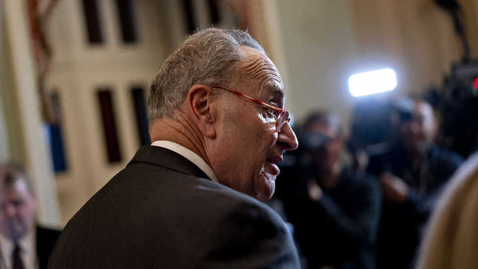 Senate Minority Leader Chuck Schumer, a Democrat from New York, speaks during a news conference after a weekly caucus meeting at the U.S. Capitol in Washington, D.C., U.S., on Tuesday, Dec. 17, 2019. Senate Majority Leader Mitch McConnell is setting a course to quash Democrat's attempts to extend the impeachment trial of President Donald Trump by calling new witnesses, with the goal of ending it swiftly in acquittal. Photographer: Andrew Harrer/Bloomberg