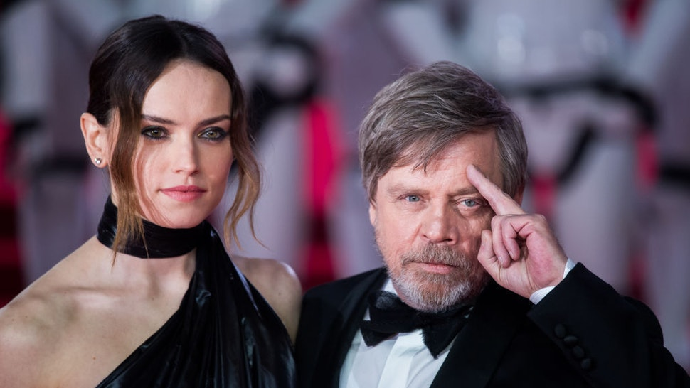 Daisy Ridley and Mark Hamill attend the European Premiere of 'Star Wars: The Last Jedi' at Royal Albert Hall on December 12, 2017 in London, England. (Photo by Samir Hussein/Samir Hussein/WireImage)