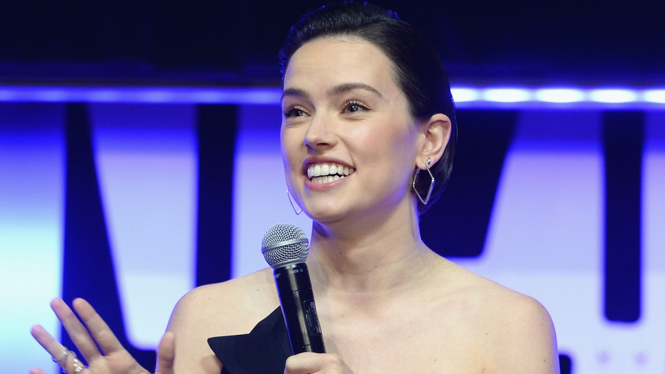 """Daisy Ridley (Rey) onstage during """"The Rise of Skywalker"""" panel at the Star Wars Celebration at McCormick Place Convention Center on April 12, 2019 in Chicago, Illinois. (Photo by Daniel Boczarski/Getty Images for Disney )"""